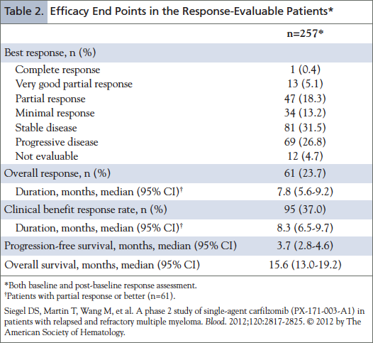 Efficacy End Points in the Response-Evaluable Patients.